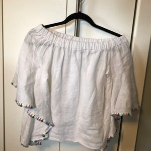 Zara bell sleeve shirt with tassel detail S